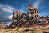 完全损毁的砖建筑 — 图库照片