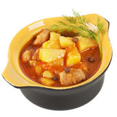 Pot of stewed potatoes. — Stock Photo