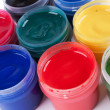 Jars with colored gouache — Stockfoto