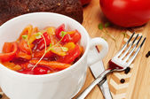 Lecho is an originally thick vegetable stew. — Stock Photo