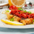 Pieces of fried fish with vegetable marinade. — Stock Photo #25599283