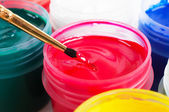 Brush and paint jar — Stock Photo