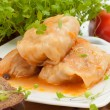 Stock Photo: Cabbage rolls on white plate