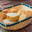Slices of white bread in a wicker basket. — Stock Photo