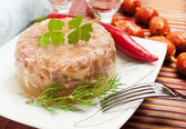 Traditional Russian food. Aspic meat jelly — Stock Photo