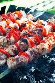 Pork kebab with tomatoes on the grill. — Stock Photo