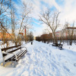 Stock Photo: An empty bench in the snow-covered city park.