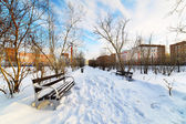 An empty bench in the snow-covered city park. — Foto Stock