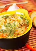 Ceramic bowl with rice pilaf. — Stock Photo