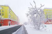 Central Street Norilsk winter. — Stock Photo