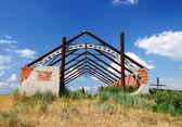 Ruined brick barn. — Stockfoto