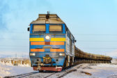 Freight train in the far north. Norilsk. — Stock Photo