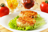 Meat patties on a white plate. — Stock Photo