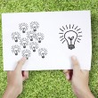 Drawing light bulb - Stockfoto