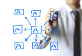 Dessin de structure de réseau social — Photo