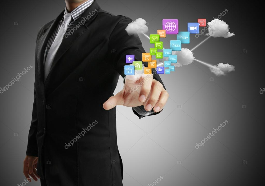 Hand pushing social network structure  — Stock Photo #17669995