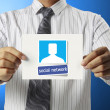 Handing social network business card over — Stock Photo
