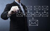 在白板上书写电子邮件架构 — 图库照片