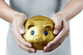 Putting coin into piggy bank in hand — Stock Photo