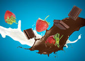 Milk and chocolate splashing — Stock Photo
