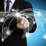 uomini d'affari, spingendo la struttura della rete sociale — Foto Stock