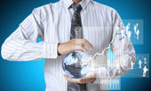 Earth globe in his hands — Stok fotoğraf