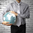 Earth globe in his hands — Foto de Stock