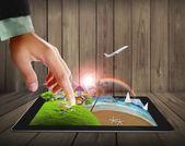 Imágenes de concepto tableta táctil streaming — Foto de Stock