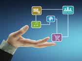 Struktura hospodářství sociální sítě — Stock fotografie