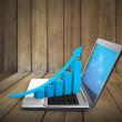 Graph showing high growth anything on laptop — Stock Photo