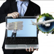 Business man holding  laptop — Stock Photo