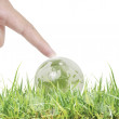 Glowing earth globe in his hands — Stock Photo #35886823