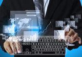 Klavye dokunmatik ekran arayüzü işyeri işadamı presler — Stok fotoğraf