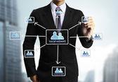 Business man ritade sociala nätverk — Stockfoto