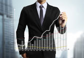 Business man handen ritade diagram — Stockfoto