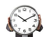 Businessman with alarm clock — Zdjęcie stockowe
