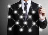 Rysunek struktura sieci społecznej — Zdjęcie stockowe