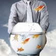 Business man and flying goldfishes — Stock Photo