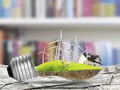 żarówka energii alternatywnej koncepcji — Zdjęcie stockowe