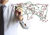 Business man drawing social network  — Stock Photo