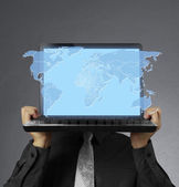 социальные сети и ноутбук — Стоковое фото