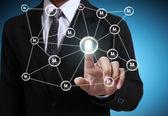 pushing social network structure  — Foto de Stock