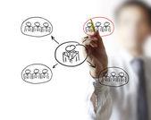 Kreslení struktura sociální sítě — Stock fotografie