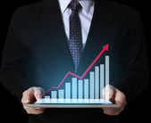 Using tablet computer to work with financial data — Stock Photo