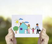 Famille avec la protection des mains — Photo