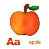 Alphabet. Letters Aa and apple — Stock Photo