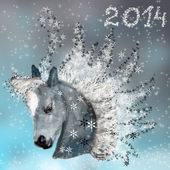 Horse on christmas card. — Stock Photo