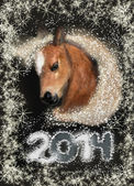 Horse on christmas card — Stock Photo