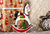Christmas wooden toy horse — Stock Photo