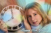 Smiling girl showing clock — Stock Photo